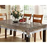 Kuber Industries PVC 6 Seater 3D Transparent Dining Table Cover - Silver