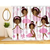 "ArtRena Quality Fabric Shower Curtain, Black Girl Ballerinas, Waterproof and Mildew Resistant, 71"" x 71"""