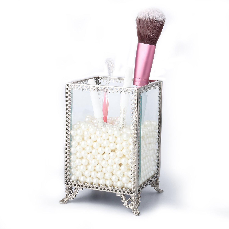 Glass Terrarium Makeup Brush Holder - Tchan Handmade Art Crafts Pen Holder Organizer for Home Office Decoration (Silver)