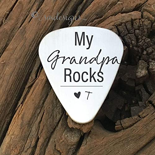 my grandpa rocks guitar pick gift for grandpa guitar pick grandpa gift fathers day birthday christmas - Christmas Gift Ideas For Grandpa