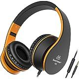 Sound Intone I68, Kopfhörer On-Ear Headset mit Mikrofon für Kinder (Schwarz/Orange)