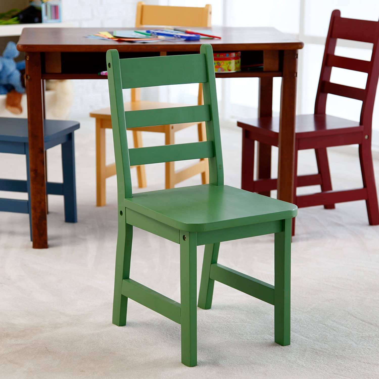 Amazon.com: Lipper Childrens Walnut Rectangle Table And 4 Chairs: Kitchen U0026  Dining