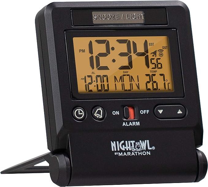 MARATHON CL030036BK Atomic Travel Alarm Clock