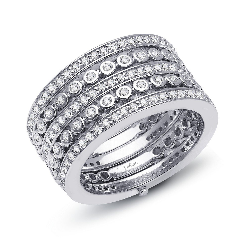 Lafonn Pave Glam Sterling Silver Platinum Plated Lassire Simulated Diamond Ring (1.82 CTTW)