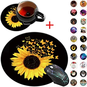 Round Mouse Pad, Sunflowers Butterfly Blooming Plants Rustic Nature Scene Designs Non-Slip Rubber Base Gaming Mouse Pads and Coaster Set for Working Or Game, Desk Accessories, Cool Mouse Pad