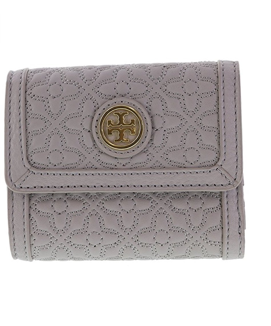 Tory Burch Bryant Mini Wallet in Quilted Leather, Style No 34031 (Mercury)