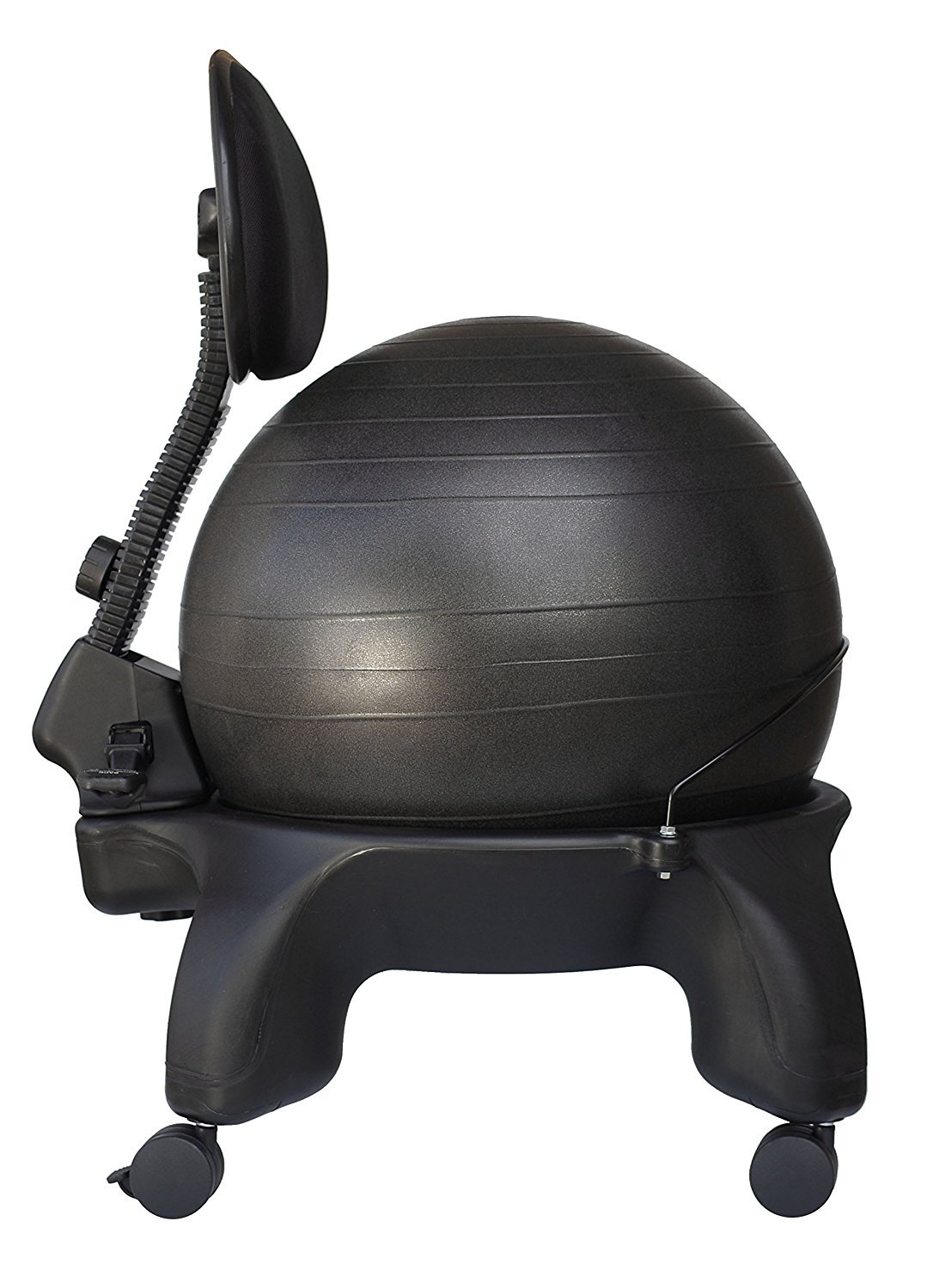 Isokinetics Inc. Adjustable Back Exercise Ball Office Chair - Tall Boy Frame (2'' Higher) - with Black 52cm Ball - Office size 60mm/2.5'' wheels - w/Starter Pump and Ball Measuring Tape