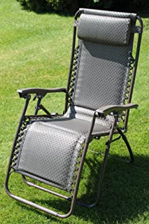 Padded Garden Sun Lounger Relaxer Recliner Chair in Tweed Weatherproof Textoline & Set of 2 Brown Padded Sun Lounger Garden Chairs With Drinks Tray ... islam-shia.org