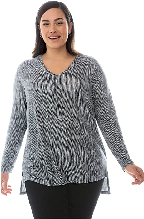 b19a2e7955824 Jessica London Women s Plus Size Hi-Low Popover Tunic - Gunmetal Stripe