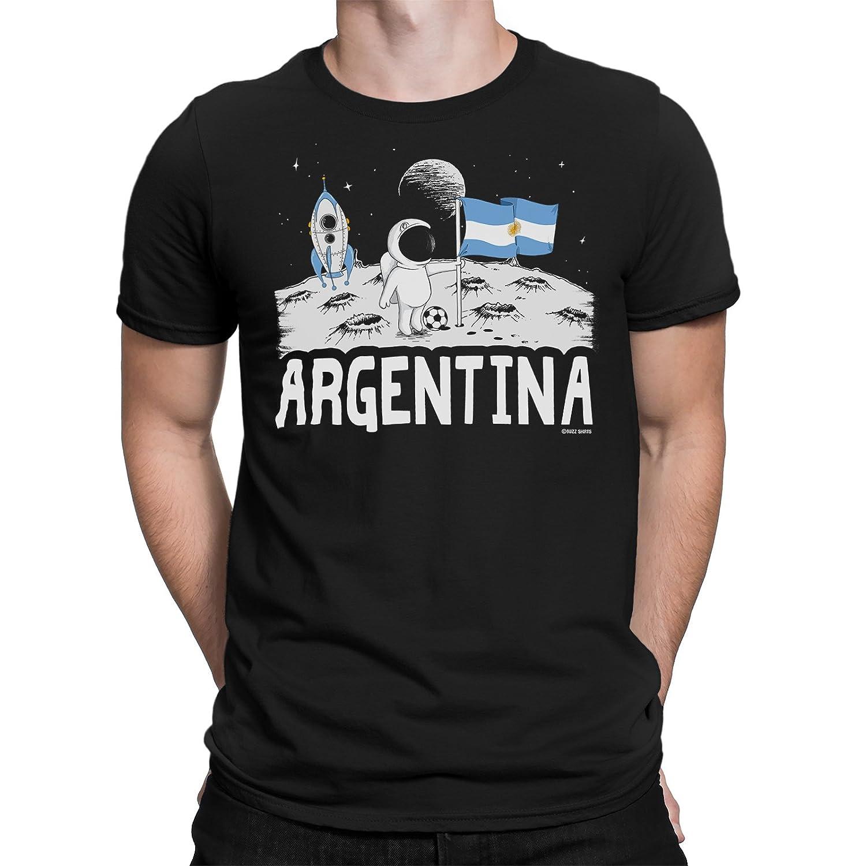 cff2ff0db51 Amazon.com  Buzz Shirts Mens Argentina T-Shirt Moon Flag World Cup 2018  Football Funny Copa America  Clothing