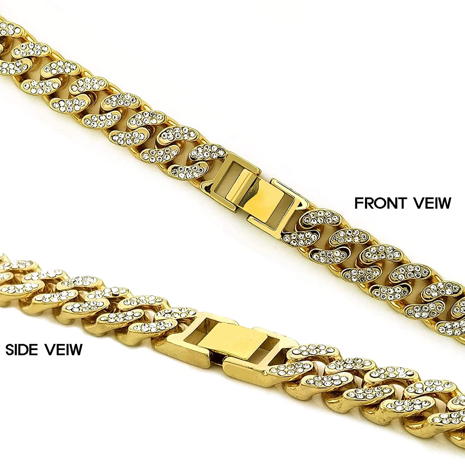 Class A Collection Premium 14K Gold Plated Cuban Chain with Micro Paved AAA Cubic Zirconia for Men Women Extension Available