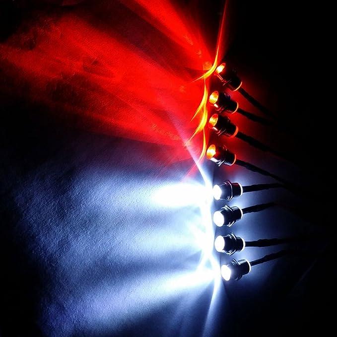 2x3mm Red/&2x3mm White Headlights Light For Traxxas Tamiya Axial Scx10 RC Car