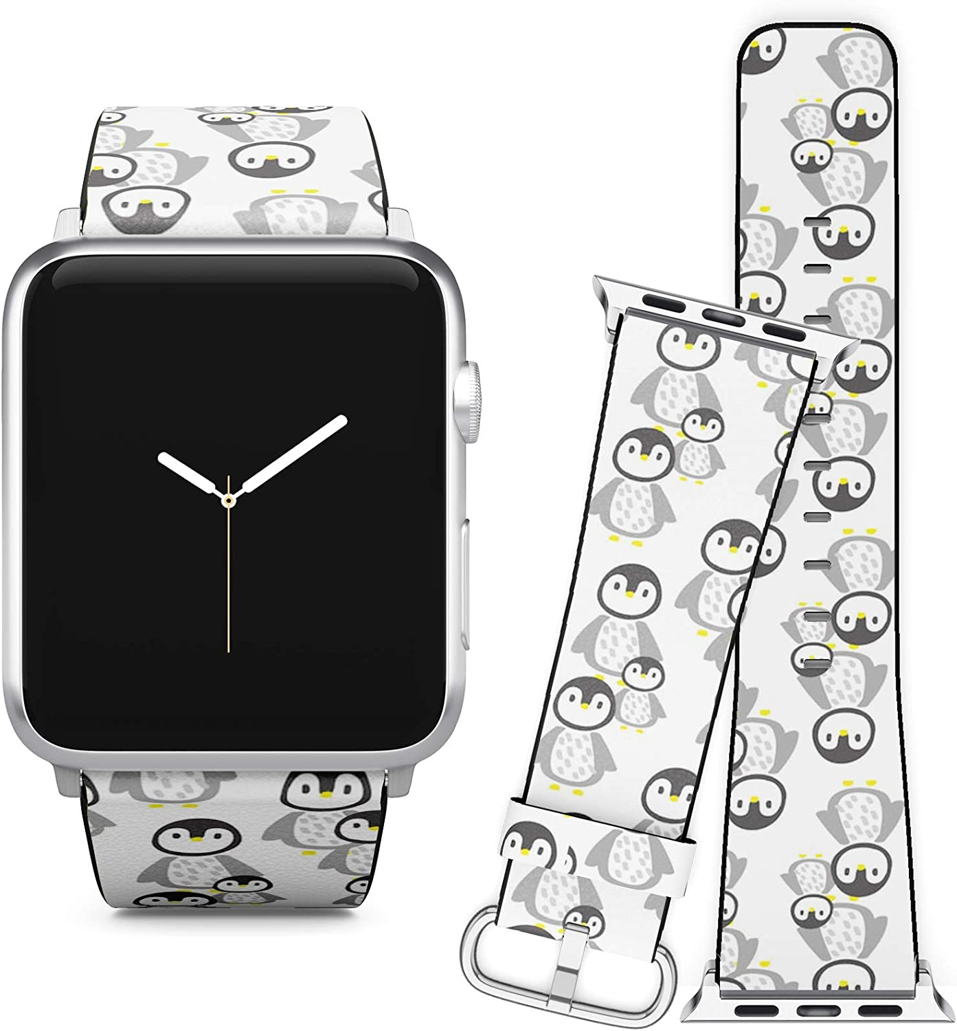 Compatible with Apple Watch iWatch (42/44 mm) Series 5, 4, 3, 2, 1 // Soft Leather Replacement Bracelet Strap Wristband + Adapters // Penguins