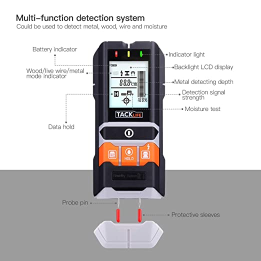 Stud Finder Wall Scanner-5 in 1 Wood Stud/Metal/Live AC Wire/Moisture detection with LED/Sound Warning Indicator Edge Finding Electronic Wall Sensor, ...
