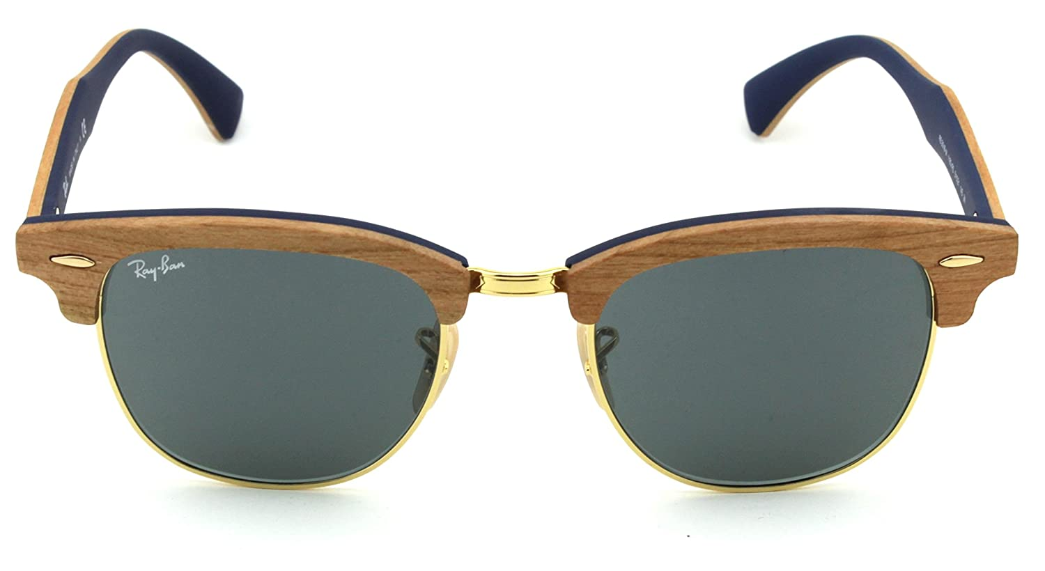 340df8d321 ... wholesale amazon ray ban rb3016m clubmaster wood unisex sunglasses  brown wood frame blue grey lens 1180r5