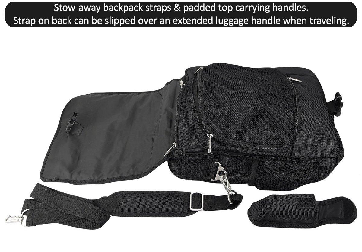 Large Vertical 4-way Messenger Bag//Backpack Black. HSU Concepts