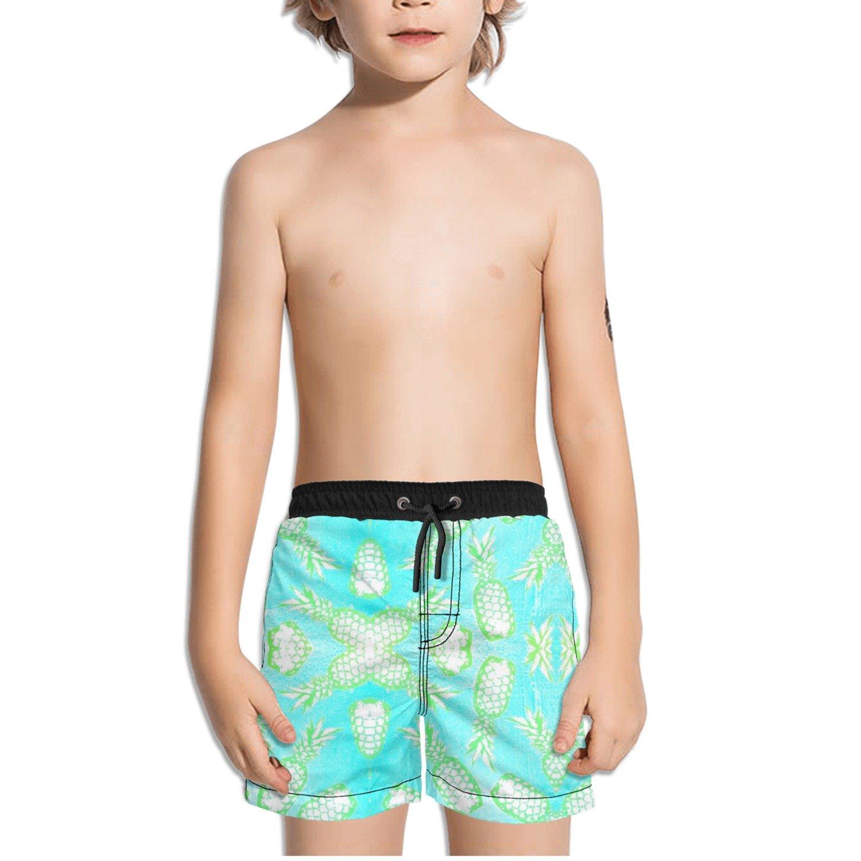 Ouxioaz Boys Swim Trunk Watercolor Pineapple Beach Board Shorts
