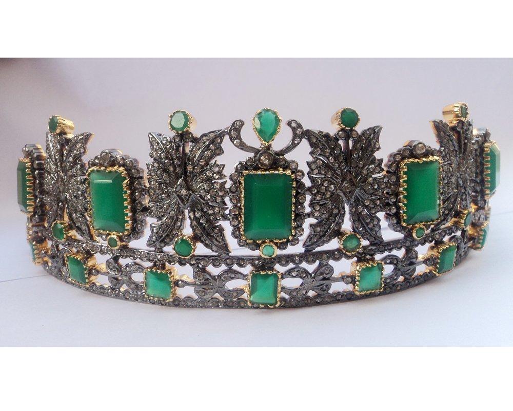 Princess Pave Rose Cut Diamond Tiara - Wedding Rose Cut Diamond Crown - 925 Sterling Silver Tiara Crown - Diamond 925 Silver Tiara - Handmade Tiara - Hair Jewelry