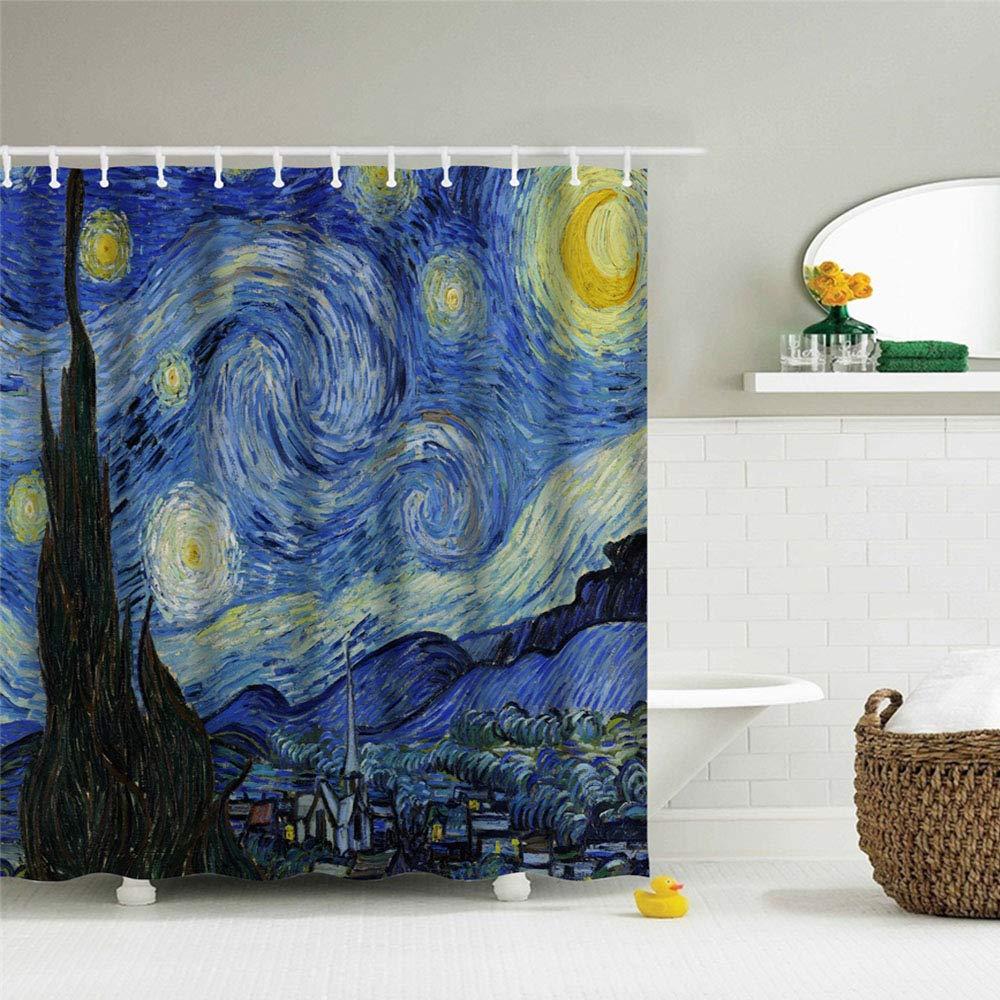 IcosaMro Starry Night Shower Curtain for Bathroom with Hooks, Van Gogh Stars Art Decorative Long Cloth Fabric Shower Curtain Bath Decorations- 71'' Wx72L, Blue
