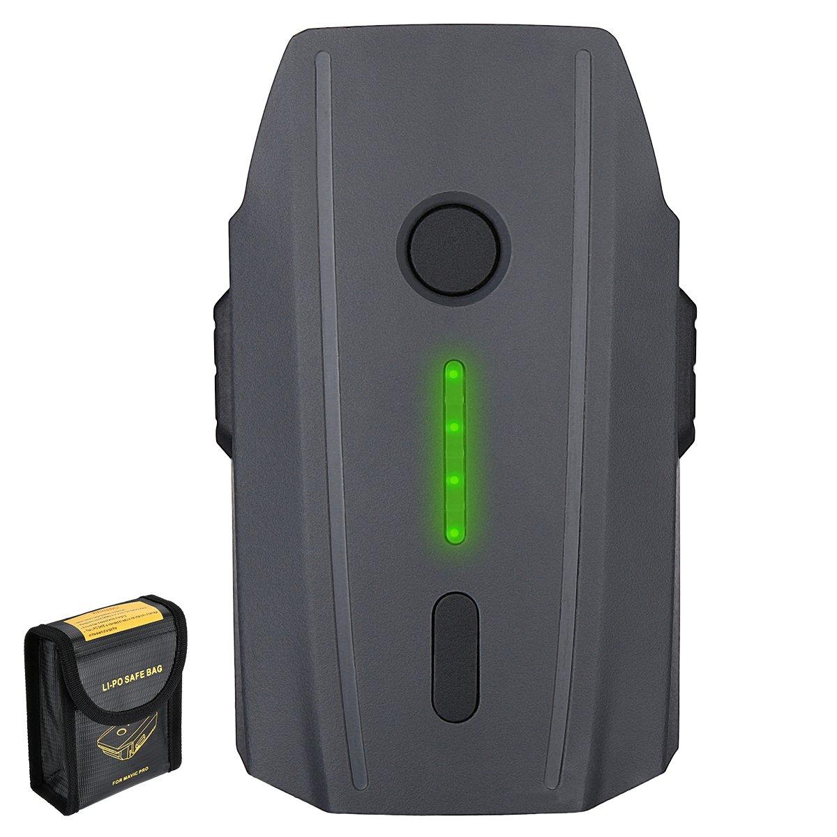 1 Pack Mavic Pro Battery Mavic Pro Battery, Powerextra 11.4V 3830mAh LiPo Intelligent Flight Battery Replacement with Battery Safe Bag for DJI Mavic Pro Drones