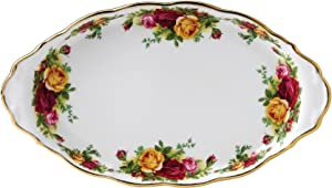 Royal Albert Old Country Roses Regal Sugar and Creamer Serving Tray, 10 inches, Floral on White