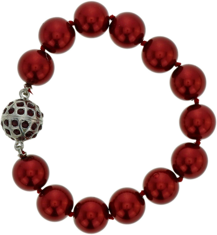 behave Pulseras moldeadas con Cuentas Rojas - Pulseras con Diamantes de Imitación - Pulsera Hilo Rojo