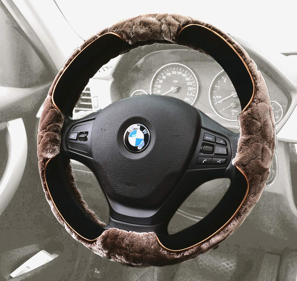 Furry Steering Wheel Cover15 InchFaux Wool Soft FurWarm Winter Universalfor Auto Car SUV (Short Plush, Brown)