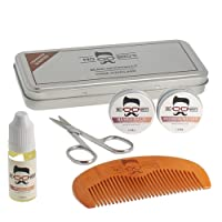 Beard Grooming Care Kit For Men - In A Gift Tin   Beard Comb & Beard Balm to Shape & Style   Beard Oil To Condition & Moisturise, Moustache Wax To Hold and Scissors To Keep Facial Hair Neat & Tidy   Classic Cedarwood