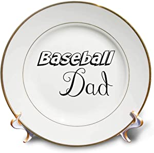 3dRose Gabriella-Quote - Image of Baseball Dad Quote - 8 inch Porcelain Plate (cp_319495_1)