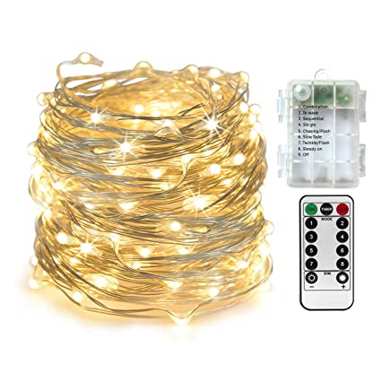 newest collection 13941 b4c68 Homeleo 10M 100LED Battery Powered LED String Lights w/Remote Mini Tiny LED  Lamps on Flexible Thin Silver Wire Blinking Twinkle Steady On LED Starry ...