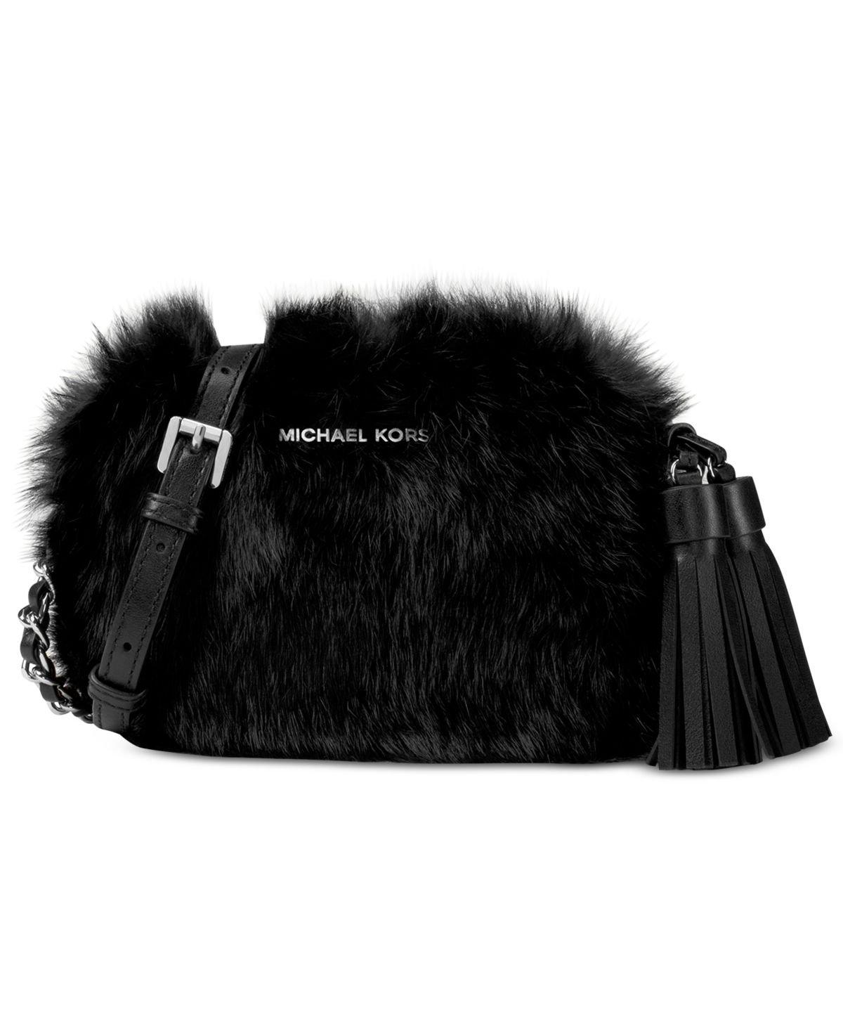 MICHAEL Michael Kors Jet Set Travel Small Chain Crossbody Fur Bag (Black) by Michael Kors