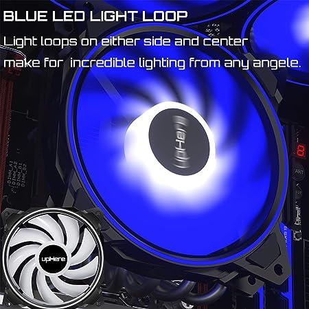 upHere - Ventilador de caja de 120 mm con efecto de Streaming blanco LED para la refrigeración del ordenador, 3 pines, 3 pack(DP12WT3): Amazon.es: Electrónica
