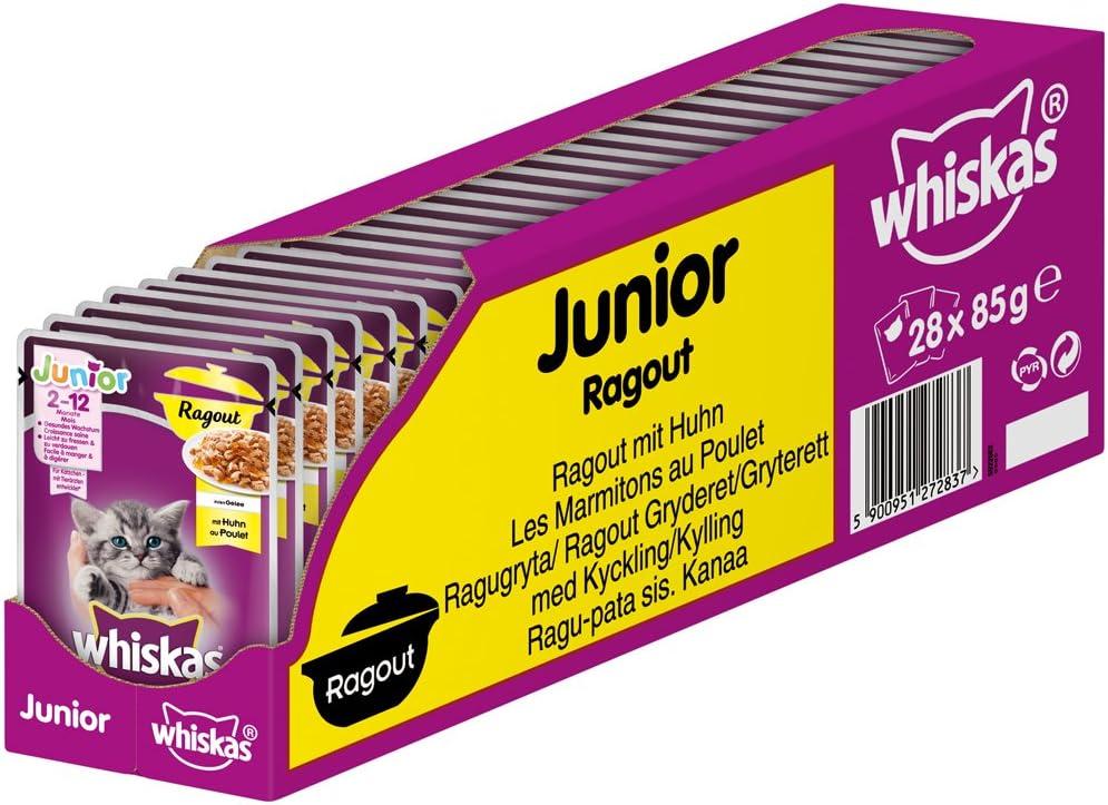 Whiskas Junior Ragout in Gelee - Zarte, jugosa Comida para Gatos en Diferentes sabores - para Gatos de 2 a 12 Meses