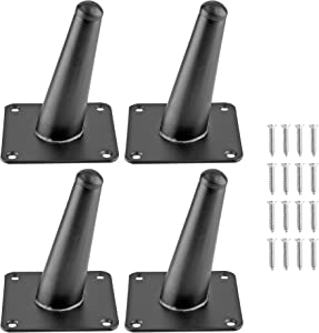 Seimneire 4pcs 4 Inch Furniture Legs, Oblique Conical Metal Legs Matte Black Mid-Century Style Furniture Feet for Sofa Cabinet Table Chair Cupboard Couch Ottoman Home DIY Projects