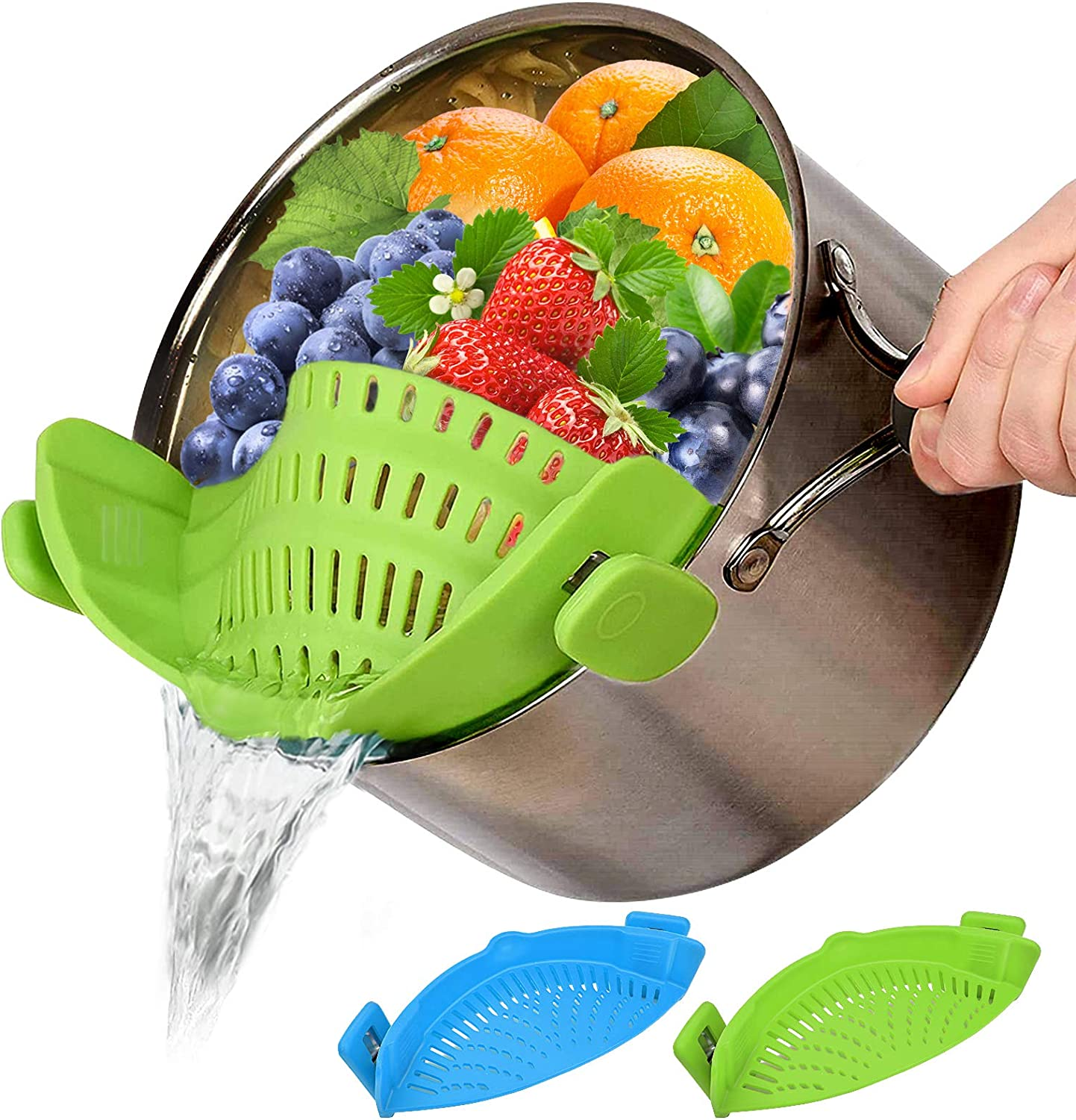 Food Strainer Silicone, 2 Pack Clip-On Food Filter Strainer, Fine Food Strainer for Kitchen, Colanders& Food Strainers, Food Strainer Plastic Drainer, for All Pots Pan Bowls, Pasta Spaghetti Vegetable