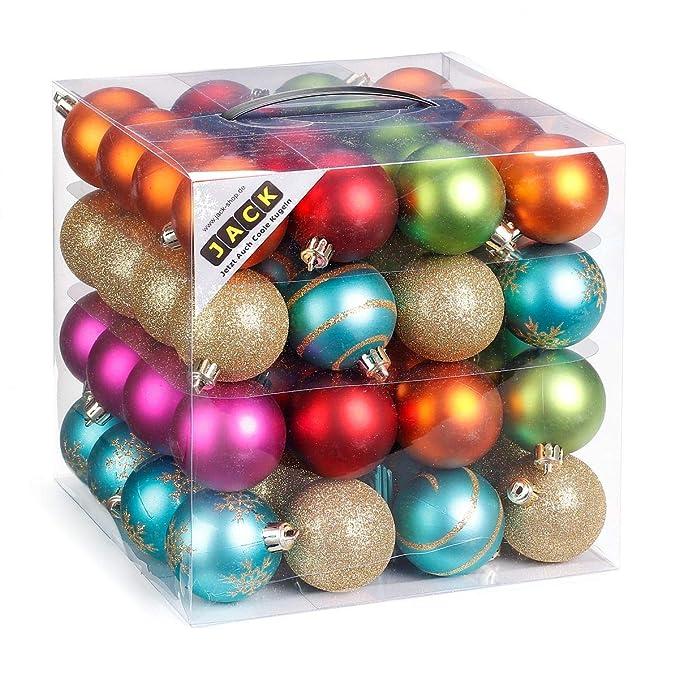 64 Christbaumkugeln 6cm Kugelbox Kunststoff bruchfest // Dekokugeln Weihnachtskugeln Baumkugeln Baumschmuck Set Inge-Glas Pla