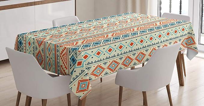 Imagen deABAKUHAUS Tribal Mantele, Patrón Azteca Mexicana, Estampado con la Última Tecnología Lavable Colores Firmes, 140 x 200 cm, Azul Naranja de Marfil
