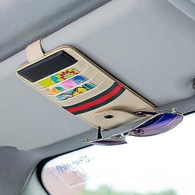 MLOVESIE Leather Car Visor Sunglasses Holder Sun Visor Credit Card Organizer Universal Fit (Beige): Automotive