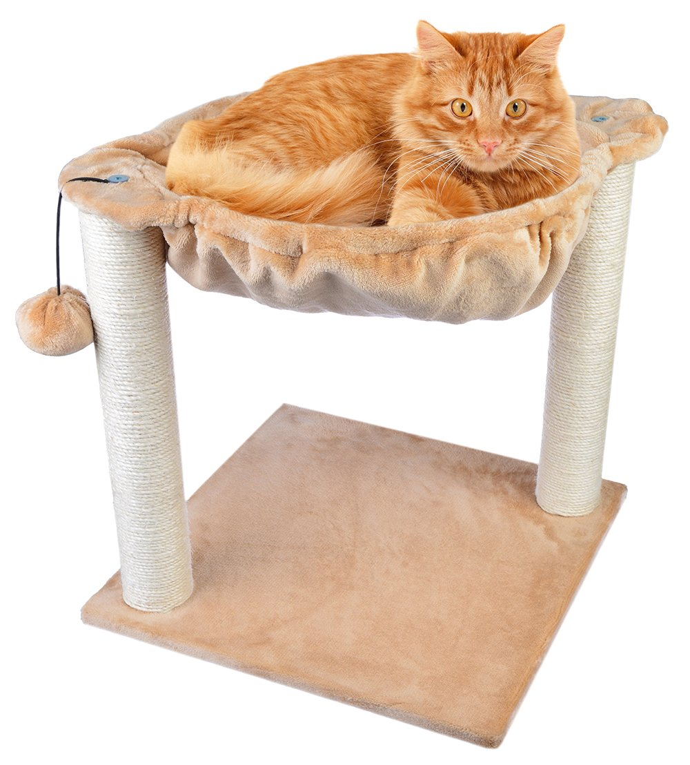 Dimaka Cat Activity Tree Scratching Post with Built in Hammock and Dangling Joy Ball