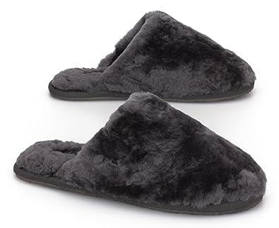 6bc9467ef SHEPHY Kyla Mule Merino Sheepskin Slippers for Women with Sheepskin Lining  and Upper (Charcoal,