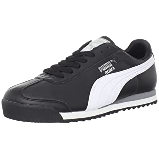 PUMA Men's Roma Basic Fashion Sneaker, Black/White/Silver - 10 D(M) US