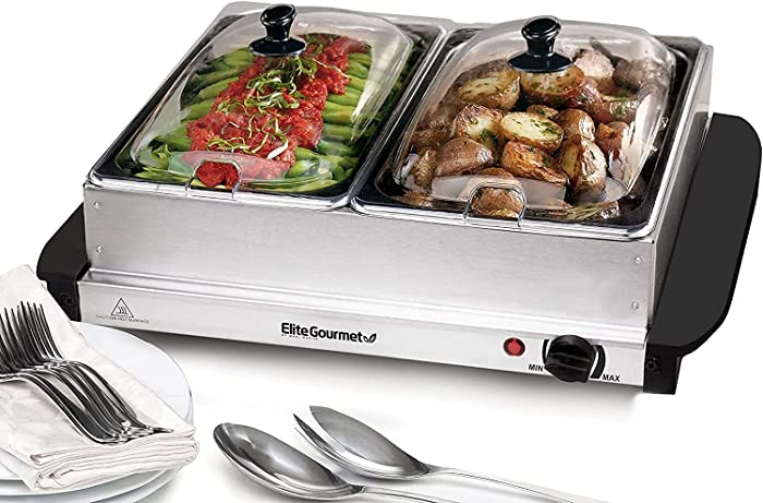 Elite Gourmet Dual Server Food Warmer, Adjustable Temp for Parties & Holidays, 2 x 2.5Qt Buffet Trays with Slotted Lids, 5 Quart, Stainless Steel (Premium/5 Quart)