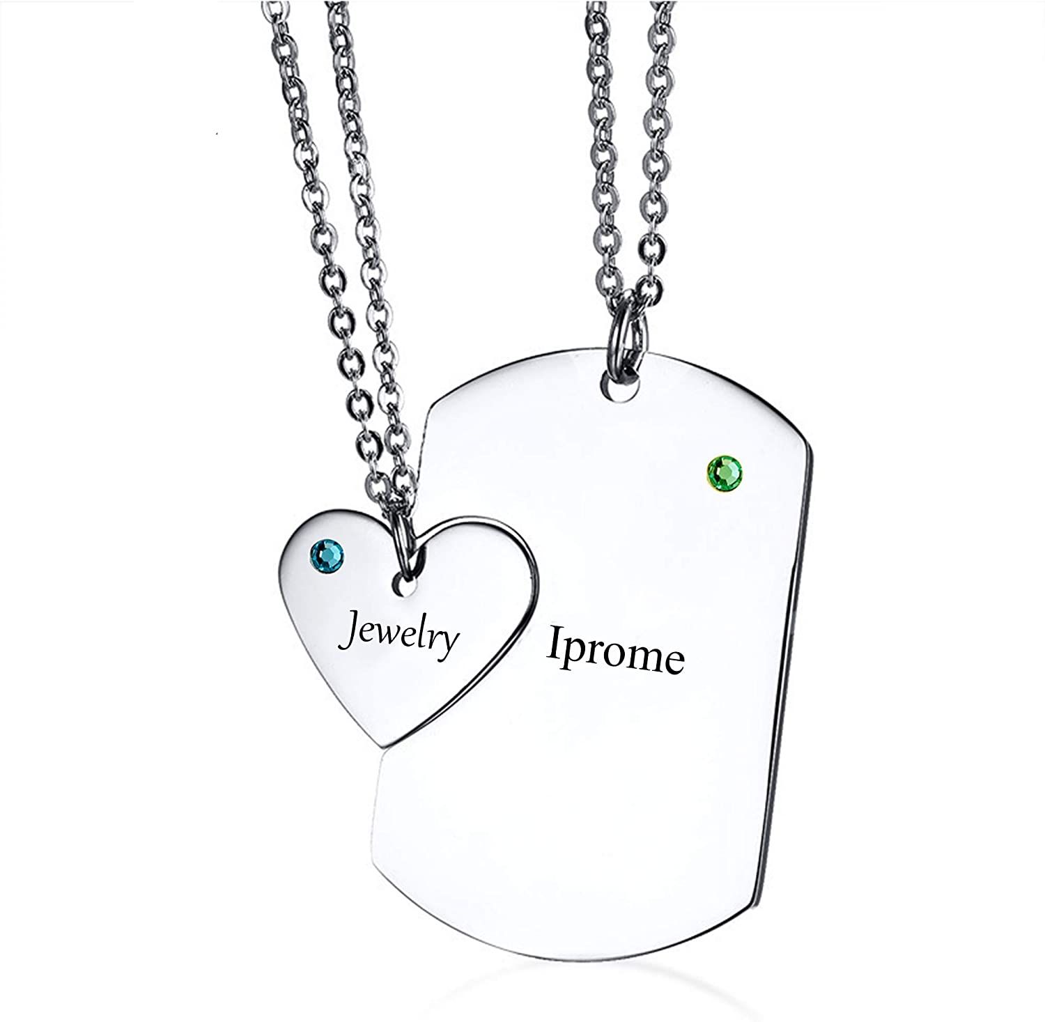 Custom Made with Any Name Iprome Personalized Dog Tag Heart Puzzle Couples Necklace Set with Birthstones