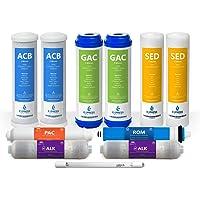 Express Water FLTSETALKUV1110Q - Sistema de ósmosis inversa alcalina ultravioleta de 1 año, 11 filtros con membrana UV y…