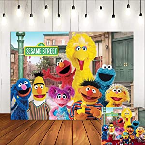 Sesame Street Theme Backdrop for Photography Kids Baby Shower Supply Children First Birthday Party Decorations Photo Studio Background Cake Table Decor Vinyl 5x3ft Banner