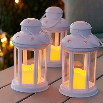 Lanterne Bianche Da Esterno.Lights4fun Set Di 3 Lanterne Bianche Con Candela Led A Pile Per Uso