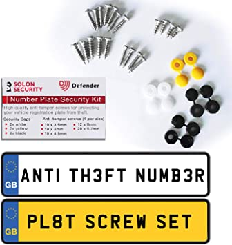 18 Pieces Caps and Screws Car License Plate Fixing Fitting Kit 3 Assorted Co...