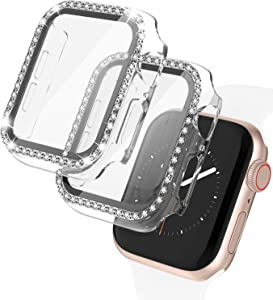 2 Pack Apple Watch Case with Tempered Glass Screen Protector for Apple Watch 44mm, Bling Diamond Rhinestone Bumper Full Cover Protective Case Compatible with iWatch Series 6/5/4/SE, Clear
