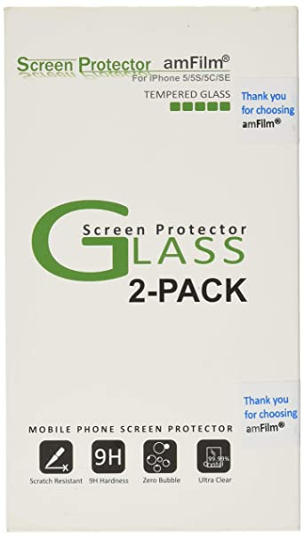 Am Film Glass Screen Protector For I Phone Se, 5 S, 5 C, 5 (2 Pack) Tempered Glass by Am Film
