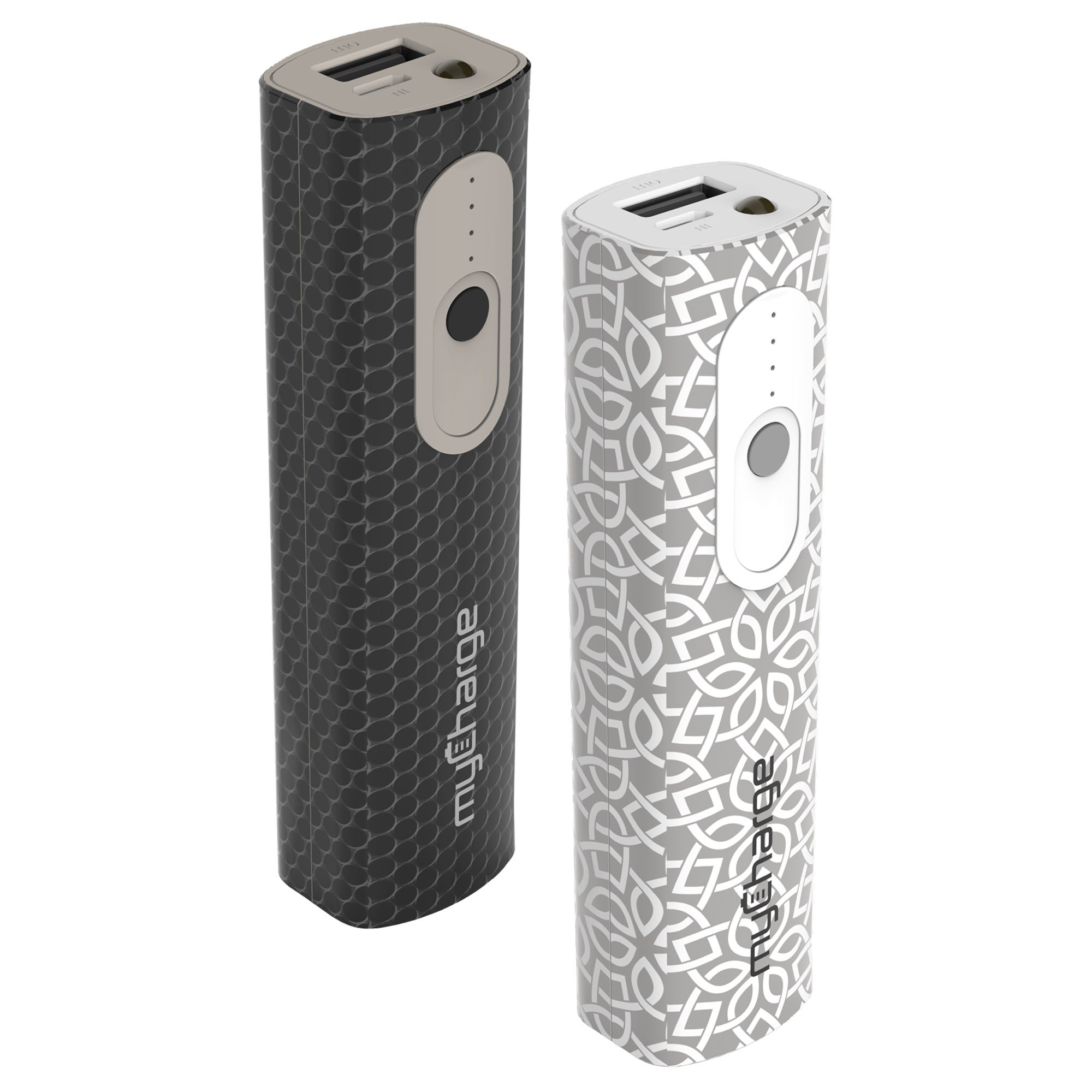 myCharge Go Style Portable Charger 2600mAh External Battery Pack for Smartphone, Tablet and Other USB Devices (iPhone, iPad, Samsung Galaxy) - Grey/White or Black Pattern (Sold as Assorted) by myCharge